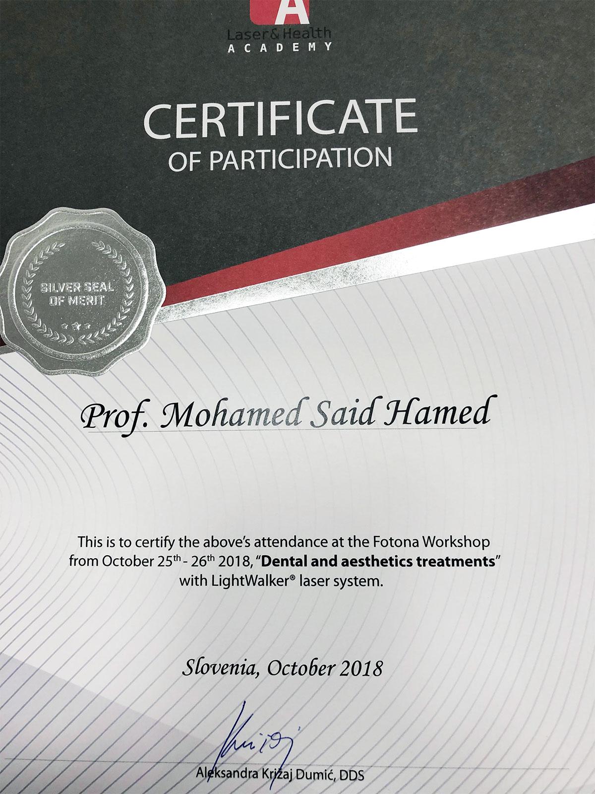 Prof Mohamed Said Hamed, at the Fotona workshop-26th Oct 2018 in